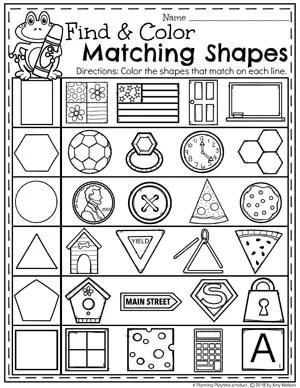 Find and Color Matching Shapes - Kindergarten Math Worksheets #kindergarten #kindergartenmath #shapes #geometry #mathworksheets #shapesworksheets #kindergartenworksheets
