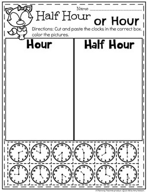 Hour or Half Hour Clocks - Time Worksheets for Kids. #kindergartenmath #kindergarten #kindergartencenters #tellingtime #timeworksheets #tellingtimeworksheets