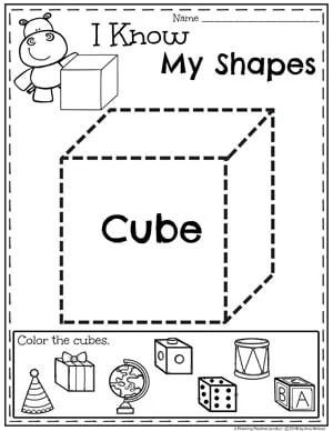 Kindergarten Shapes Worksheets - Cubes #kindergarten #kindergartenmath #shapes #geometry #mathworksheets #shapesworksheets #kindergartenworksheets