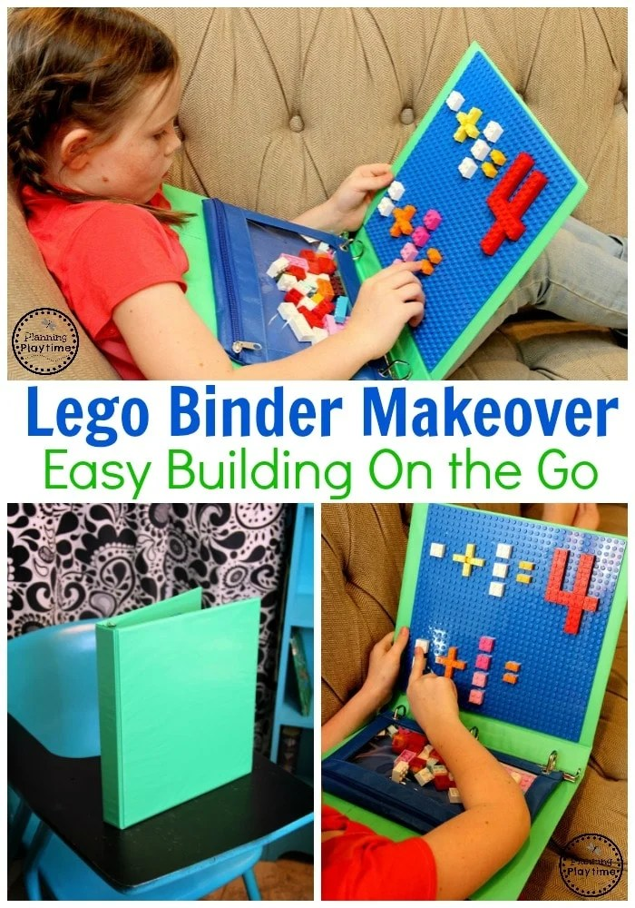 Lego Classroom Ideas - Turn a binder into a Lego surface. Pencil bag to hold Legos. #lego #legobaseplates #legomakeover #legoideas #legohacks #legoclassroom #ad