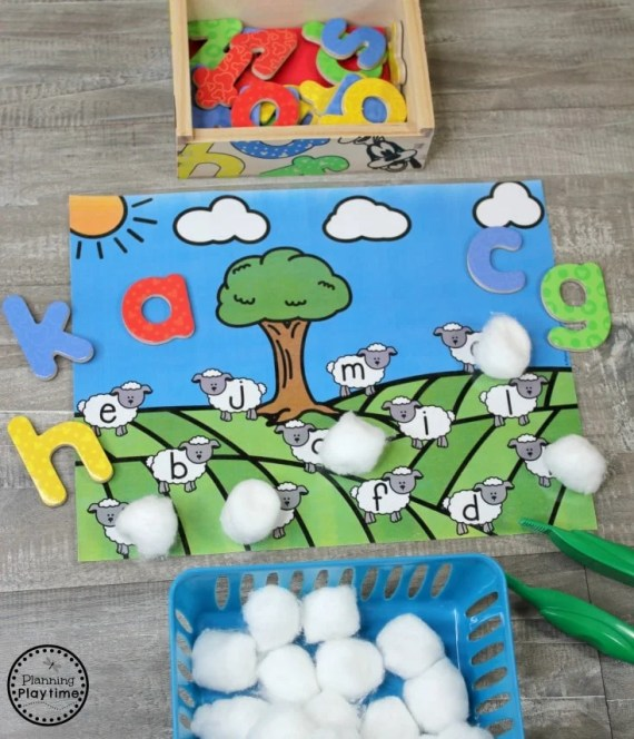 Preschool Farm Activities - Find and Cover Sheep Alphabet Hunt #preschool #farmtheme #springpreschool #preschoolgames #preschoolfun #letterrecognition