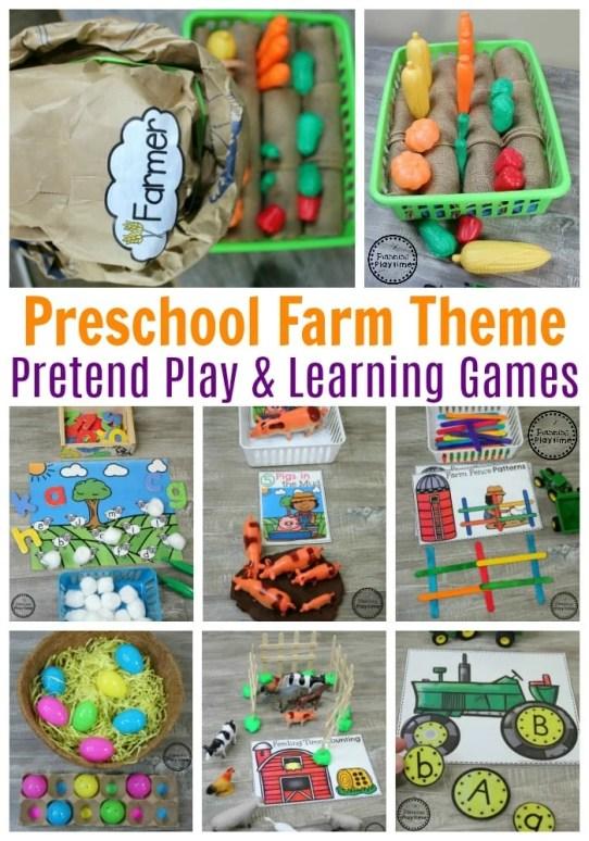 Preschool Farm Theme - Pretend Play and educational activities #preschool #farmtheme #springpreschool #preschoolgames #preschoolfun