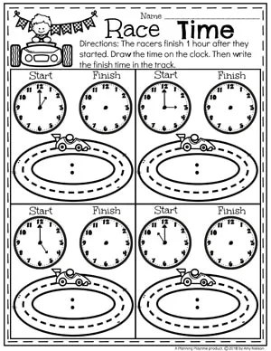 Race Time - On the hour Time Telling Worksheets for Kids. #kindergartenmath #kindergarten #kindergartencenters #tellingtime #timeworksheets #tellingtimeworksheets