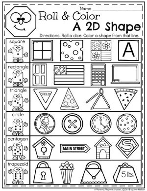Roll and Color 2D Shapes - Kindergarten Shapes Worksheet#kindergarten #kindergartenmath #shapes #geometry #mathworksheets #shapesworksheets #kindergartenworksheets