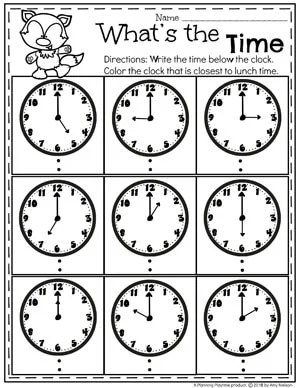What's the Time - Time Telling Worksheets on the Hour #kindergartenmath #kindergarten #kindergartencenters #tellingtime #timeworksheets #tellingtimeworksheets