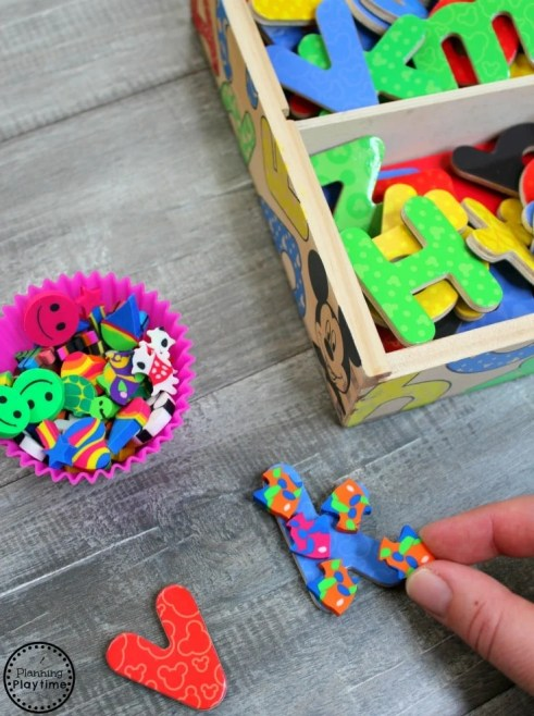 Alphabet Letter Activities with Mini Erasers #preschool #minierasers #kindergarten #funlearning #planningplaytime #beginningsounds