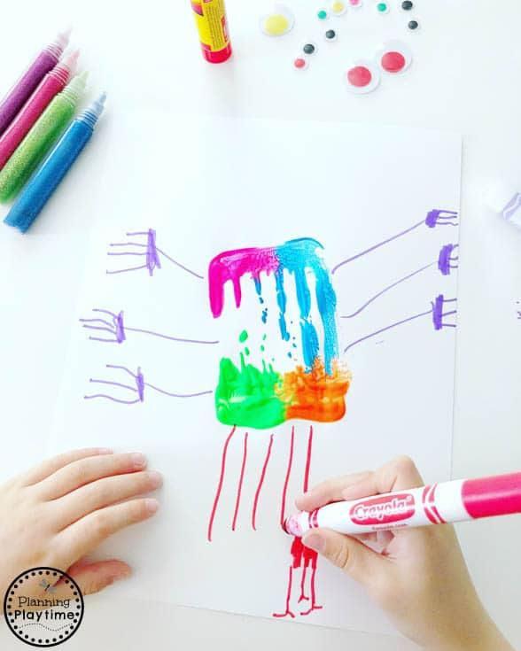 Cute Monster Art for kids made with kitchen utensils #monstercrafts #preschoolcrafts #kidscrafts #processart #preschoolart #planningplaytime