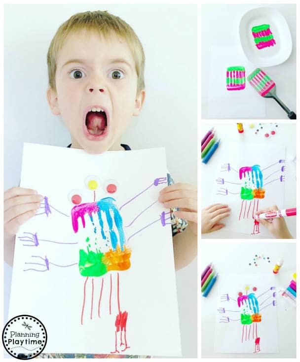 Preschool Monster Art - Fun Process Art for Kids #monstercrafts #preschoolcrafts #kidscrafts #processart #preschoolart #planningplaytime