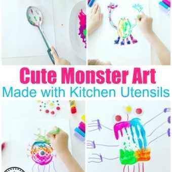 Preschool Process Art - Monster Craft for Kids #monstercrafts #preschoolcrafts #kidscrafts #processart #preschoolart #planningplaytime