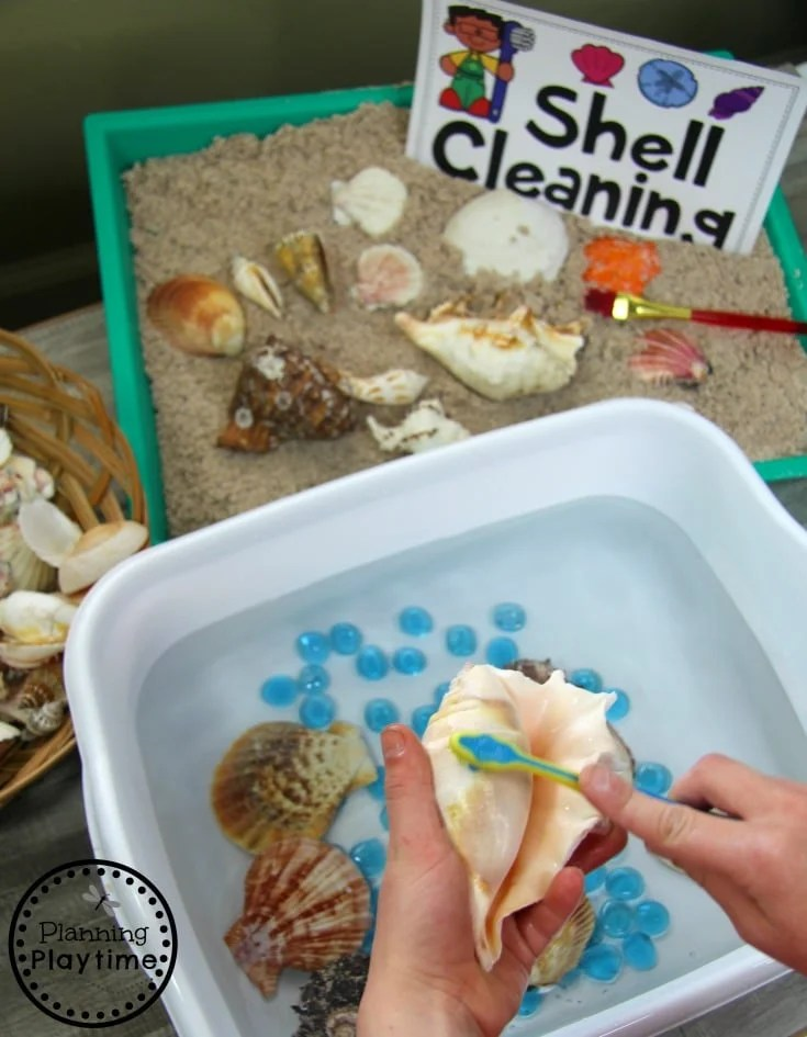Preschool Ocean Theme Dramatic Play and Sensory Centers. #preschool #dramaticplay #underthesea #oceantheme #sensorybin