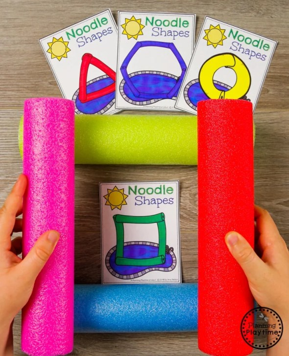 Preschool Shapes Game - Make it with Pool Noodles shapes #preschool #summerpreschool #preschoolprintables #preschoolcenters #planningplaytime #shapes