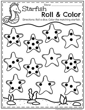 Roll and Cover Preschool Counting Worksheets for an Ocean Theme #preschool #oceantheme #preschoolactivities #preschoolworksheets #planningplaytime #countingworksheets