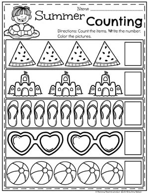Summer Counting Worksheets for Preschool #preschool #summerpreschool #preschoolprintables #preschoolworksheets #planningplaytime #countingworksheets