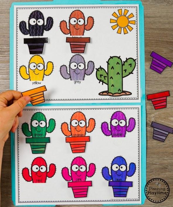 Summer Preschool Color Matching Game - Planting Cactus File Folder game #preschool #summerpreschool #preschoolprintables #preschoolcenters #planningplaytime #colors