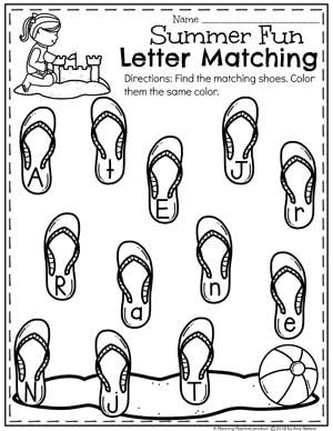 Summer Preschool Worksheets - Letter Matching #preschool #summerpreschool #preschoolprintables #preschoolworksheets #planningplaytime