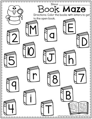 books with letters or numbers on cover. Worm with magnifying glass to sort and color.