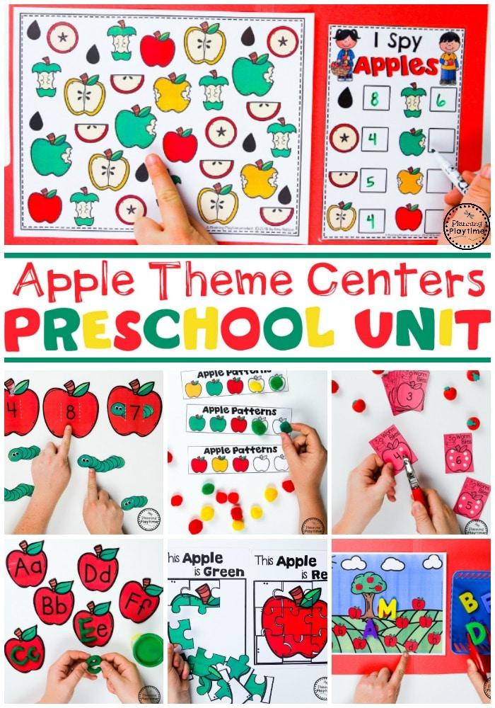 Apple Theme for Preschool #preschool #preschoolworksheets #appletheme #appleworksheets #planningplaytime