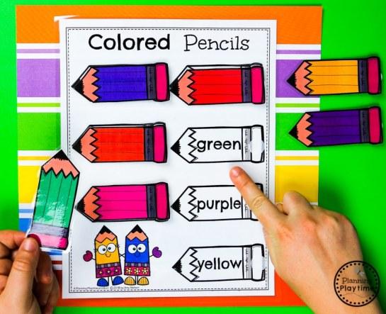 Back to School Color Matching Activities #preschool #colorrecognition #planningplaytime