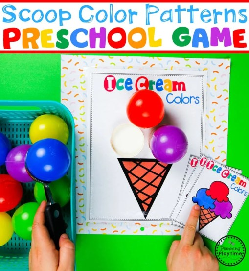 Color Patterns Game for Preschool - Match the Ice Cream Scoop Color Patterns #preschool #colorrecognition #planningplaytime