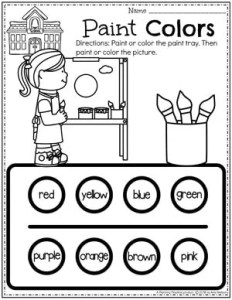 Color Worksheets for Preschool - Painting Page #preschoolworksheets #colorworksheets #Planningplaytime