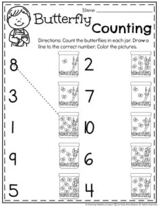 Counting Worksheets for Preschool - Butterfly Counting#preschool #numberworksheets #planningplaytime