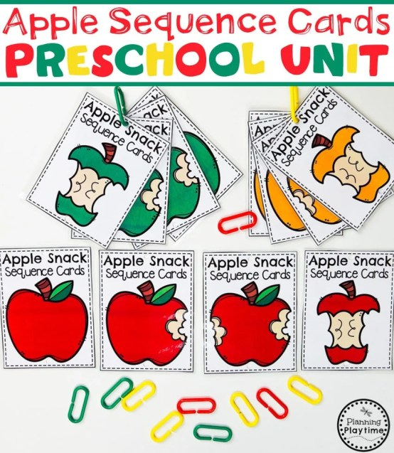 Preschool Apple Theme - Color Puzzles #preschool #preschoolworksheets #appletheme #appleworksheets #planningplaytime #sequence