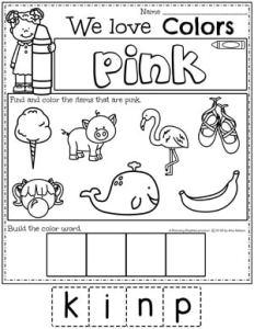 Preschool Color Worksheets - pink #preschoolworksheets #colorworksheets #Planningplaytime