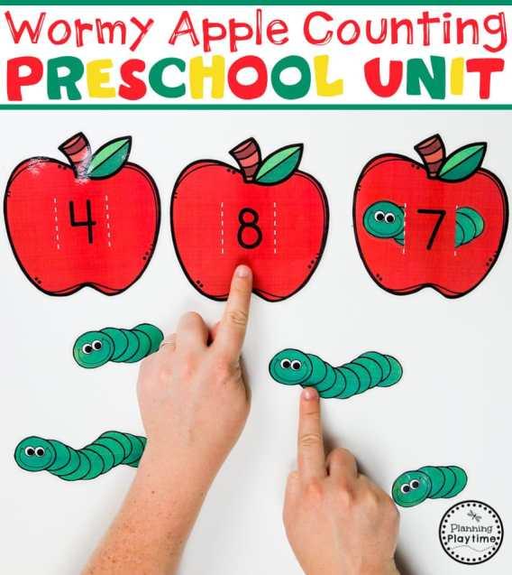 Preschool Counting Game - Apple Theme#preschool #preschoolworksheets #appletheme #appleworksheets #planningplaytime