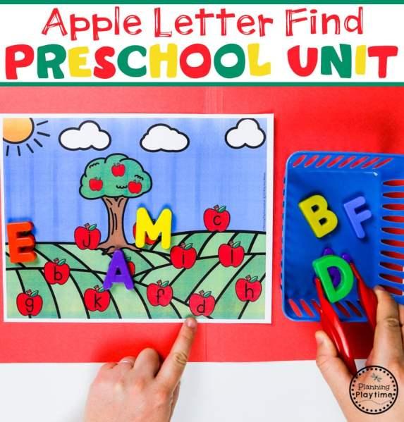 Preschool Letter Find - Apple Theme#preschool #preschoolworksheets #appletheme #appleworksheets #planningplaytime