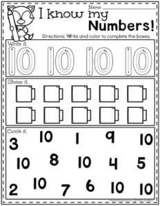 Preschool Numbers Worksheets - Number 10 #preschool #numberworksheets #planningplaytime
