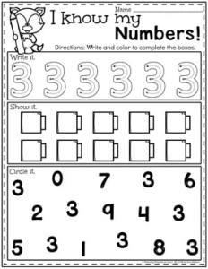 Preschool Numbers Worksheets - Number 3#preschool #numberworksheets #planningplaytime