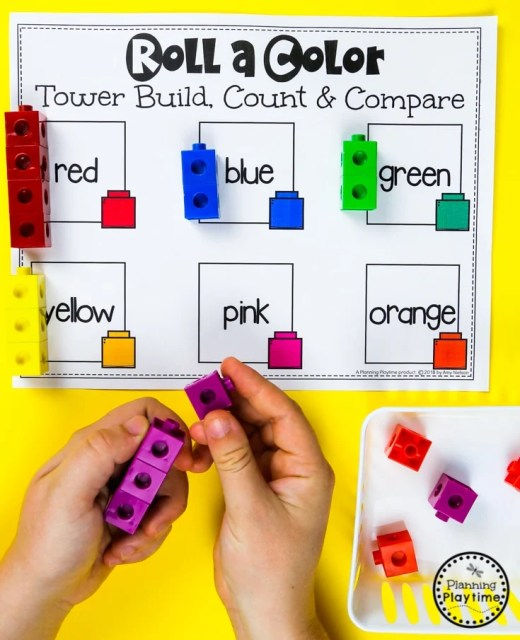 Roll and Count Color Blocks Game for Preschool #preschool #colorrecognition #planningplaytime