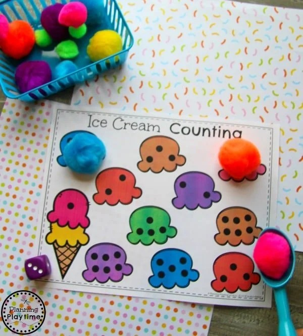 Roll and Cover Ice Cream Counting for Preschool#preschool #planningplaytime #preschoolmath