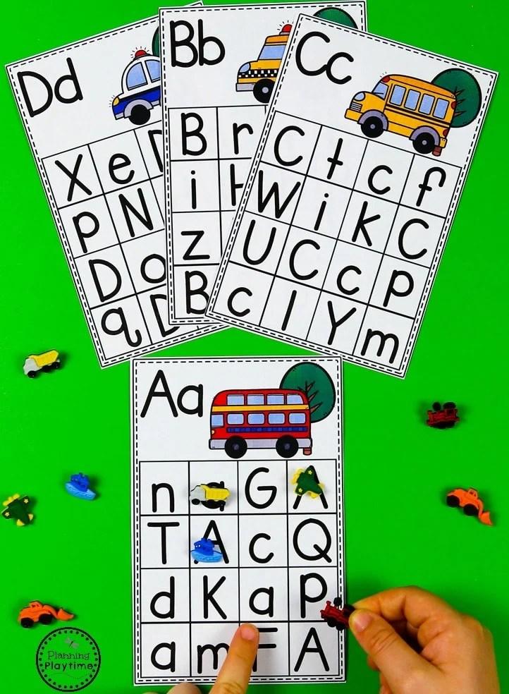 Alphabet Matching Cards - Transportation Unit for Preschool #preschool #transportationunit #planningplaytime