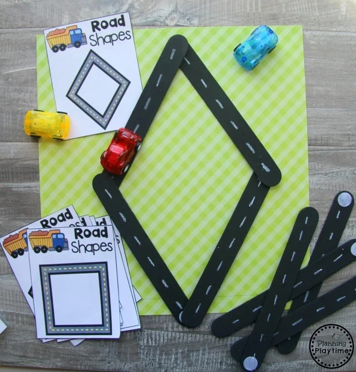 Preschool Transportation Unit Shapes - Giant Craft Stick Roads #preschool #transportationunit #planningplaytime