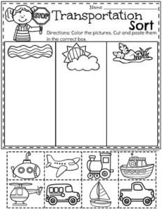 Preschool Transportation Worksheets - Sorting #preschool #preschoolworksheets #planningplaytime #sortingworksheets