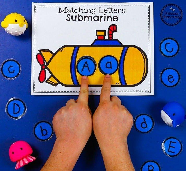 Submarine Letter Matching Game - Preschool Transportation Unit #preschool #transportationunit #planningplaytime