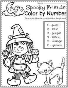 Halloween Color by Number Preschool Worksheet #halloweenworksheets #preschoolworksheets #planningplaytime