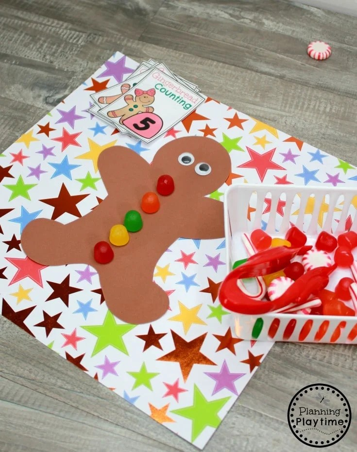 Gingerbread Man Printables - Counting Gumdrops #gingerbreadmanprintables #gingerbreadmanworksheets #gingerbreadmantheme #preschool #preschoolworksheets #planningplaytime
