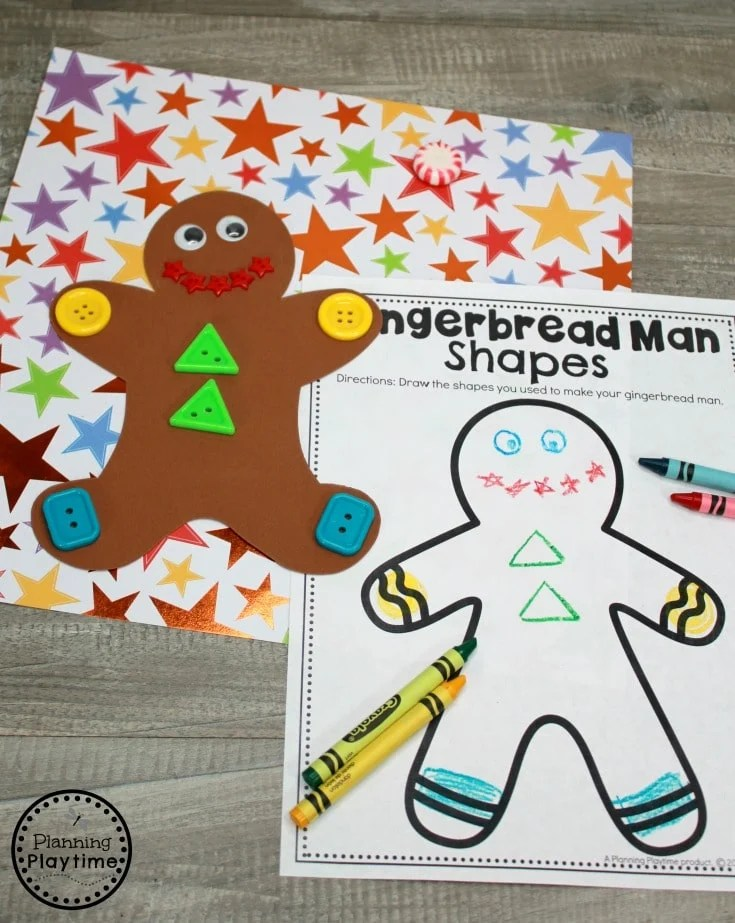 Gingerbread Man Shapes Game for Preschool #gingerbreadmanprintables #gingerbreadmanworksheets #gingerbreadmantheme #preschool #preschoolworksheets #planningplaytime