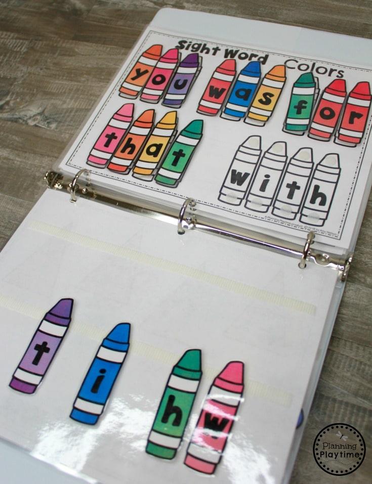 Kindergarten Sight Words - Interactive Binder Games #sightwords #sightwordsworksheets #literacyworksheets #kindergartenworksheets #planningplaytime