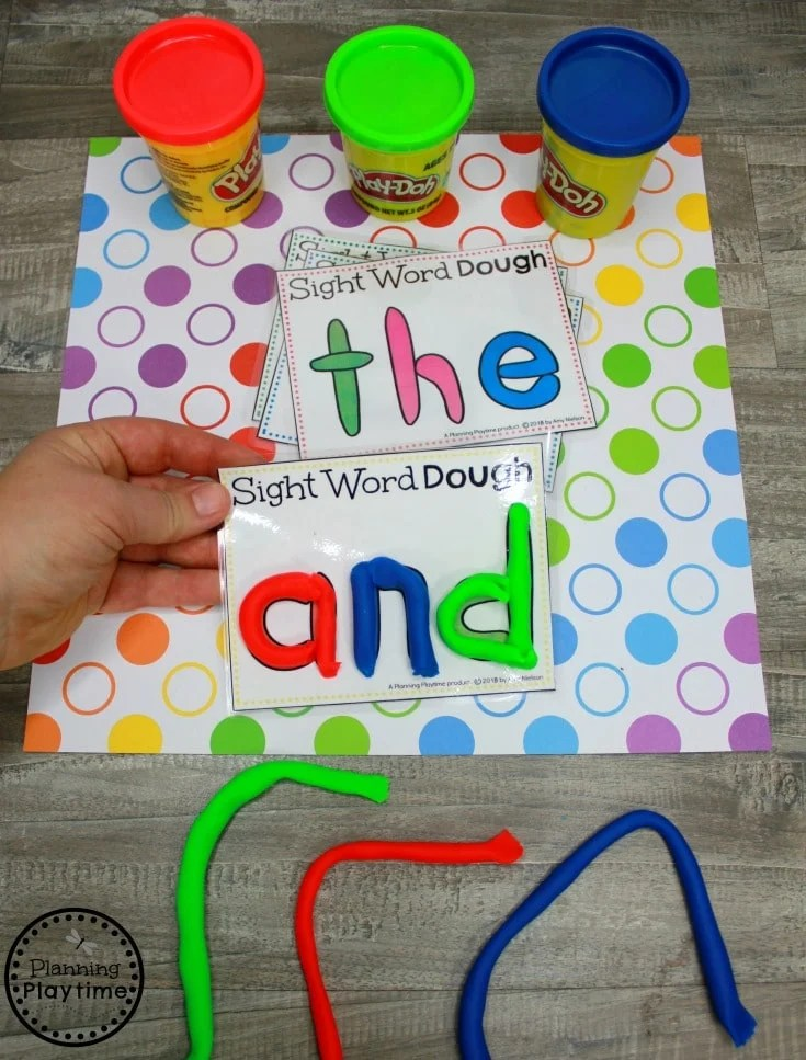 Playdough Sight Words - Sight Words for Kindergarten Games #sightwords #sightwordsworksheets #literacyworksheets #kindergartenworksheets #planningplaytime