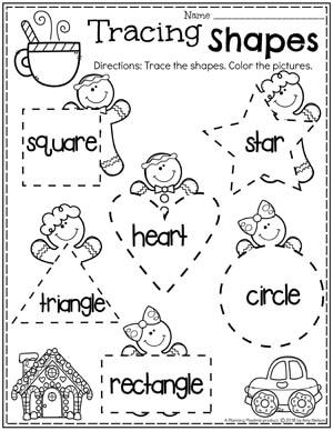 Preschool Gingerbread Worksheets - Tracing Shapes #gingerbreadmanprintables #gingerbreadmanworksheets #gingerbreadmantheme #preschool #preschoolworksheets #planningplaytime