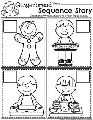 Preschool Sequence Worksheets - Gingerbread Theme #gingerbreadmanprintables #gingerbreadmanworksheets #gingerbreadmantheme #preschool #preschoolworksheets #planningplaytime