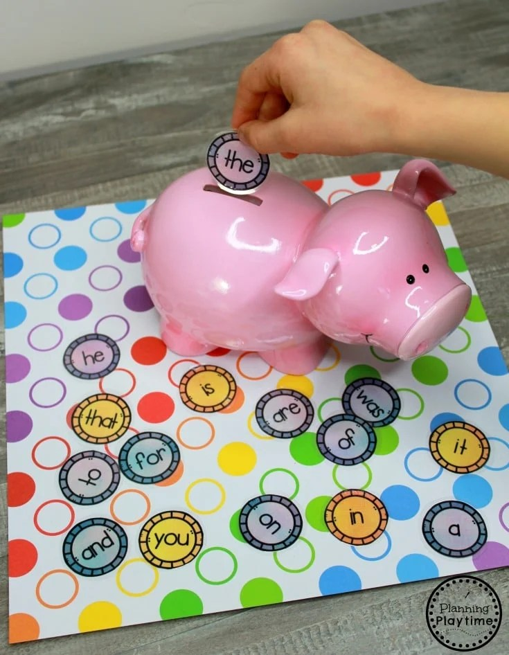 Sight Words Bank - Fun Kindergarten Sight Words Games #sightwords #sightwordsworksheets #literacyworksheets #kindergartenworksheets #planningplaytime