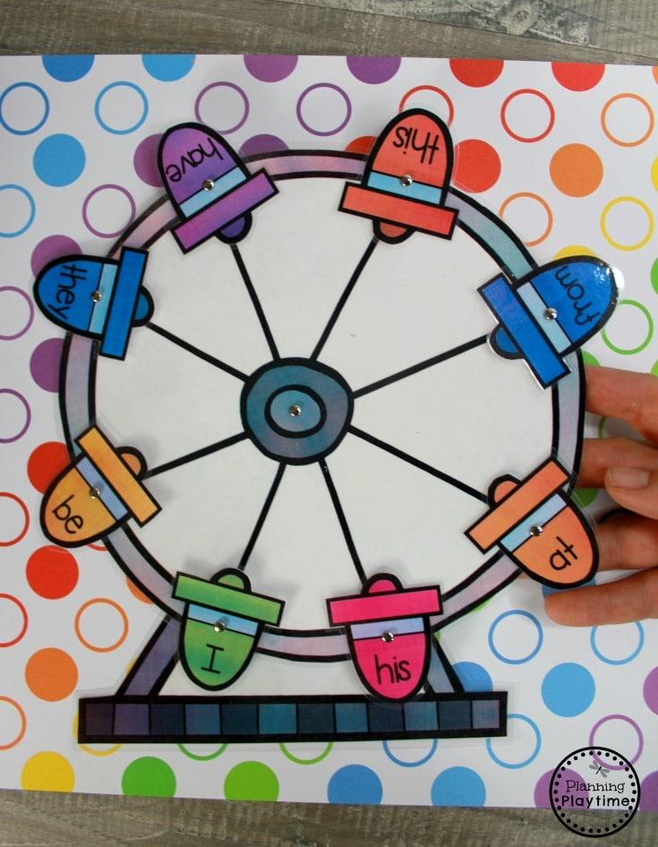 Sight Words Ferris Wheel - Kindergarten Sight Words Games #sightwords #sightwordsworksheets #literacyworksheets #kindergartenworksheets #planningplaytime