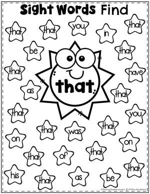 Sight Words Find Worksheet - that #sightwords #sightwordsworksheets #literacyworksheets #kindergartenworksheets #planningplaytime