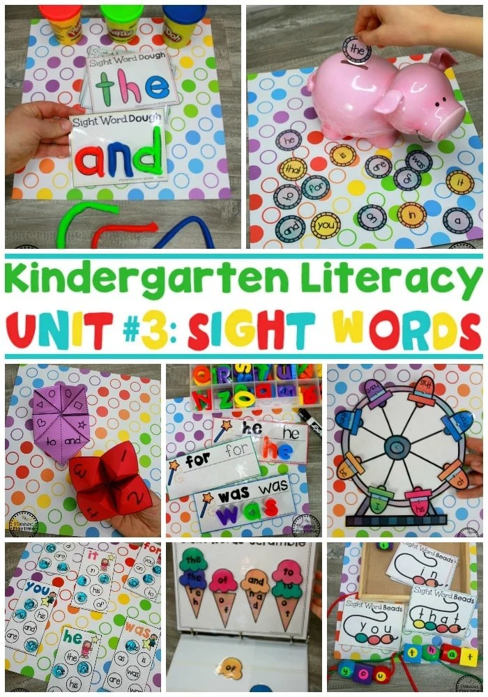Sight Words for Kindergarten Centers and Worksheets #sightwords #kindergartenliteracy #sightwordsworksheets #planningplaytime #literacyworksheets #kindergartenworksheets