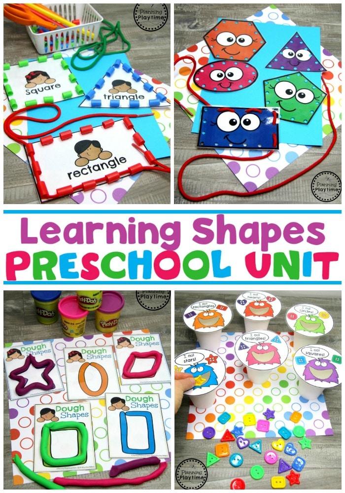 2D Shapes Activities for Preschool #preschoolshapes #2dshapes #shapesworksheets #shapesactivities #planningplaytime