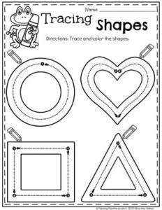 2D Shapes Tracing Worksheets for Preschool #preschoolworksheets #2dshapes #shapesworksheets #planningplaytime